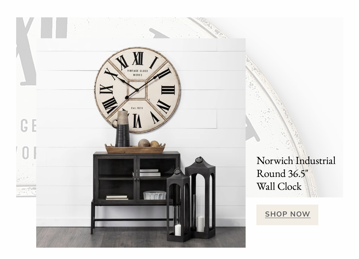 Norwich Industrial Round 36.5' Wall Clock | SHOP NOW