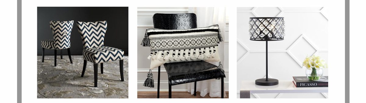 James Ring Navy Side Chair (Set Of 2) ,Metal/Crystal Table Lamp, Oil Rubbed Bronze, Tribal Tasseled Ivory/Black Pillow Cover | SHOP NOW