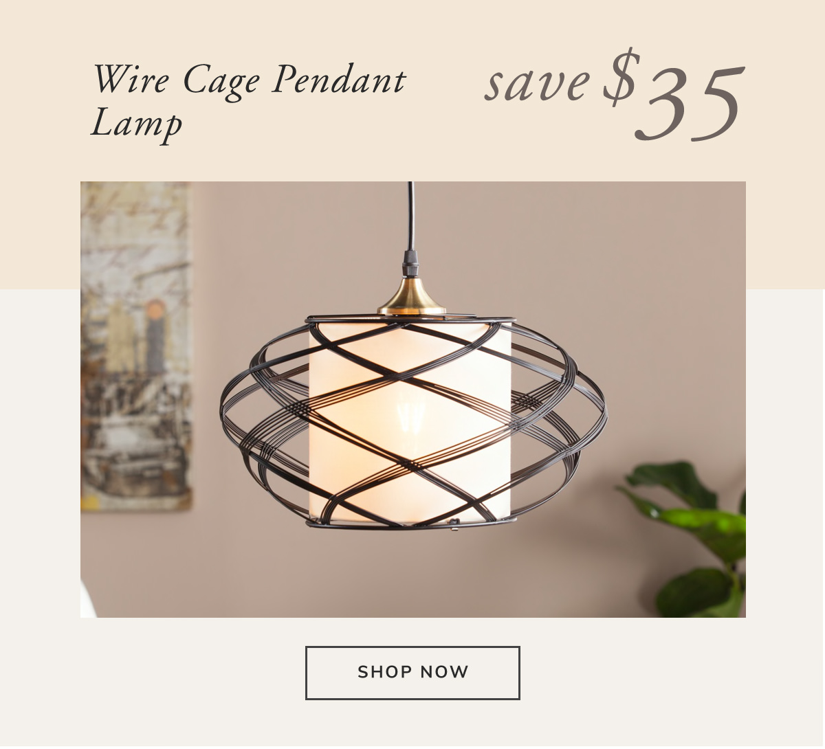 Wire Cage Pendant Lamp. Save $35 | SHOP NOW