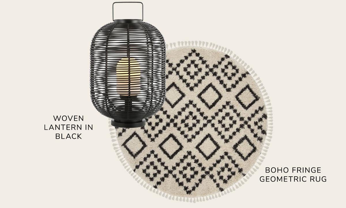 Boho Fringe Natural and Black Shag, Outdoor Woven Oval Asian Lantern, Black   SHOP NOW