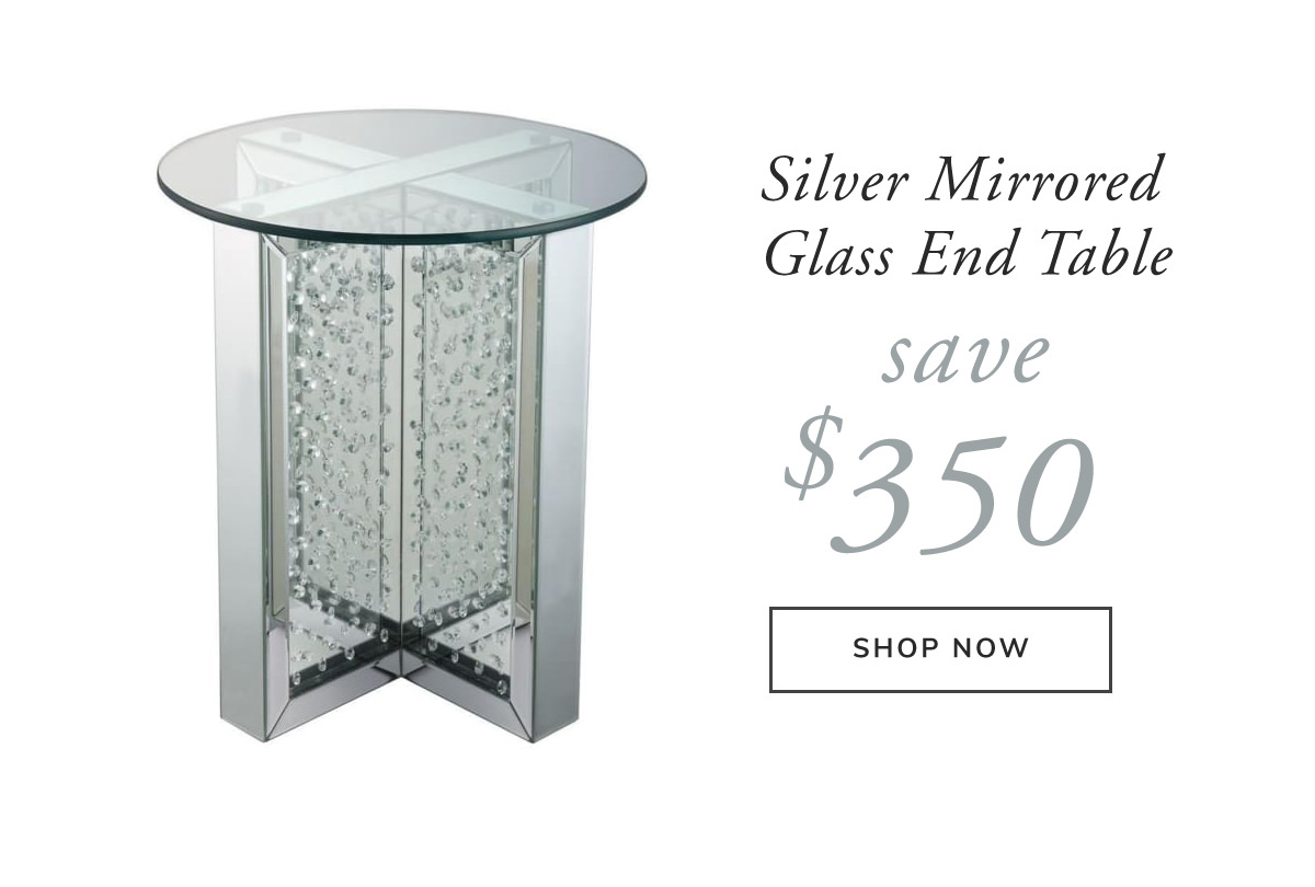Silver Mirrored Glass Top Round End Table. Save $350 | SHOP NOW
