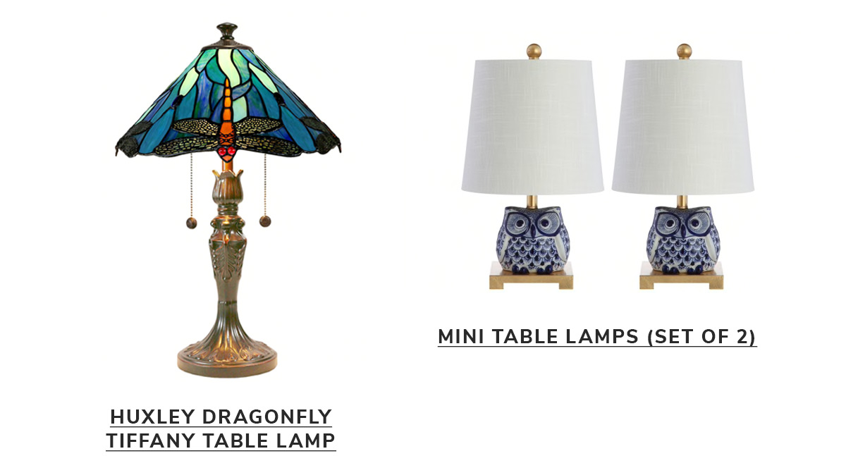 Huxley Dragonfly Tiffany Table Lamp,Ceramic Mini Table Lamp, Blue/White (Set of 2)   SHOP NOW