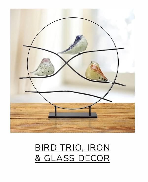Bird Trio White Art Glass and Iron Table Décor | SHOP NOW