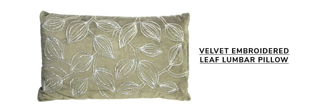 Pier 1 Velvet Embroidered Leaf Lumbar Pillow Green   SHOP NOW