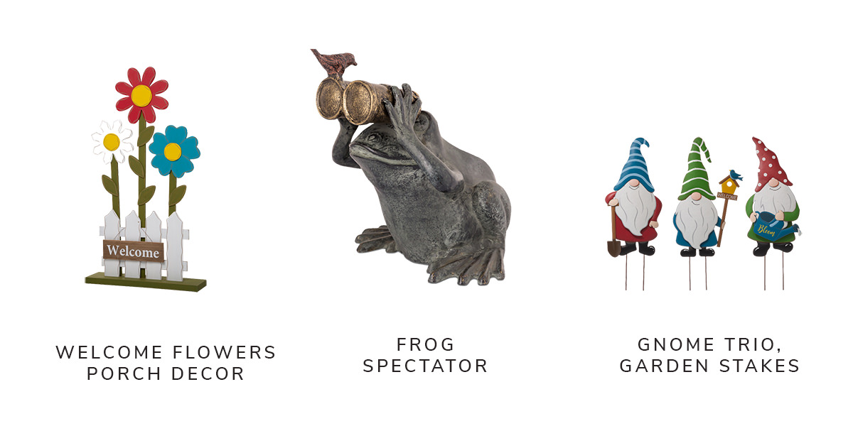 Welcome Wooden Trio Flowers and Fence Porch Decor, Frog Spectator Verdigris Aluminum Garden Sculpture, Metal Gnome Set of 3 Yard Stakes | SHOP NOW