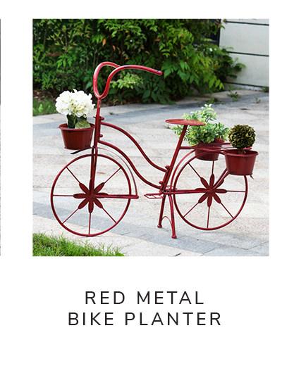 Distressed Red Metal Bike Planter | SHOP NOW