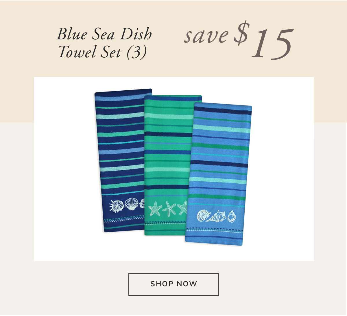 Embroidered Blue Sea Dish Towel Set of 3. Save $15 | SHOP NOW