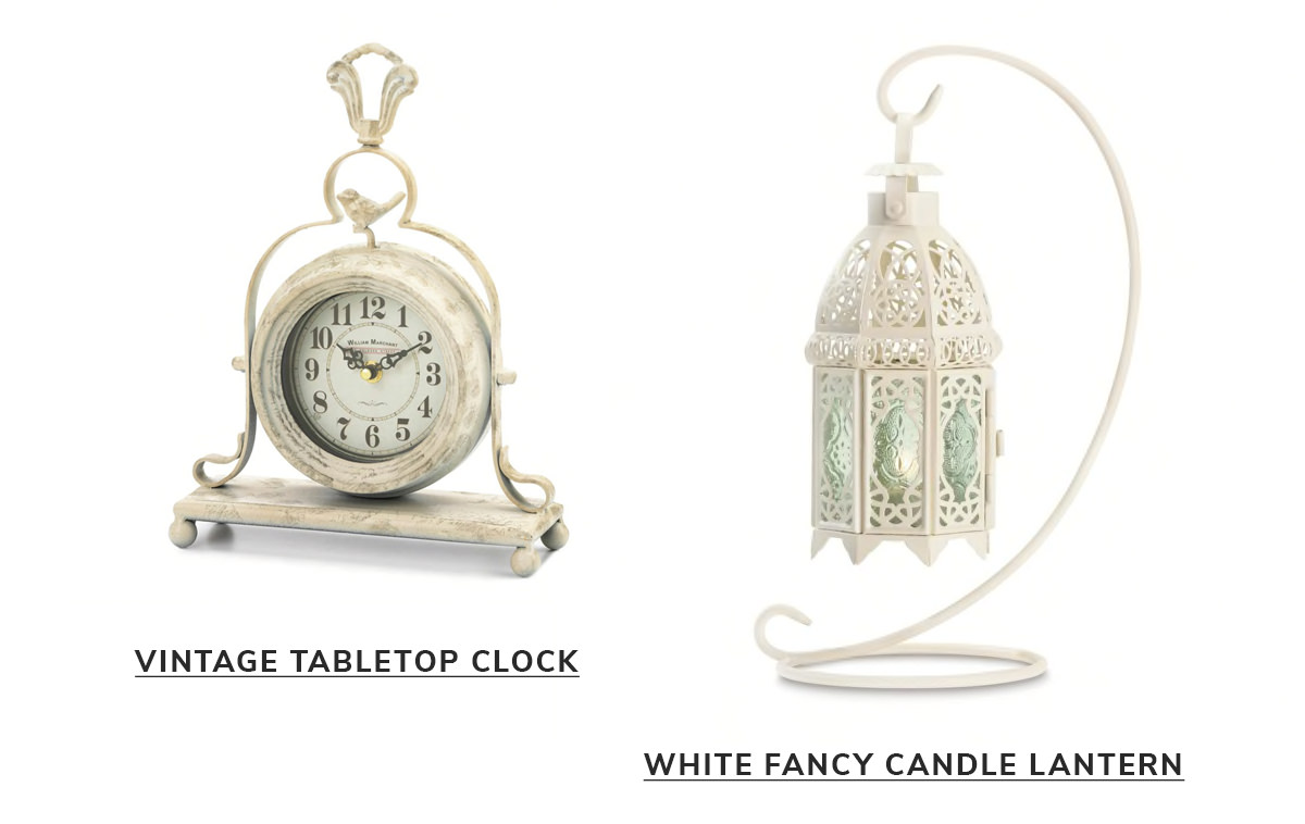 Vintage Tabletop Clock,White Fancy Candle Lantern with Stand   SHOP NOW