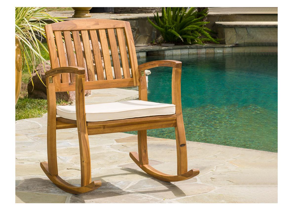 Teak Finish Acacia Rocking Chair with Cushion | SHOP NOW