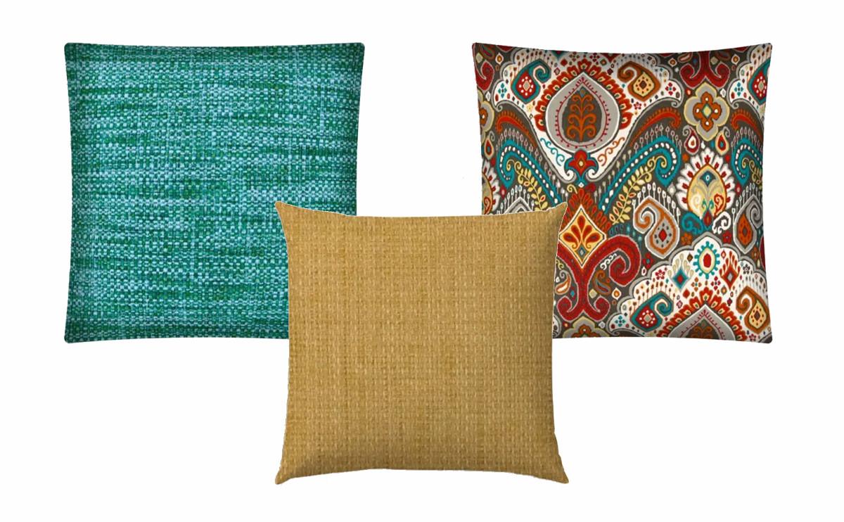 Boho Sea Aqua Outdoor Pillow, Remi Golden Straw Outdoor Pillow, Boho Burst Red Outdoor Pillow.   SHOP NOW