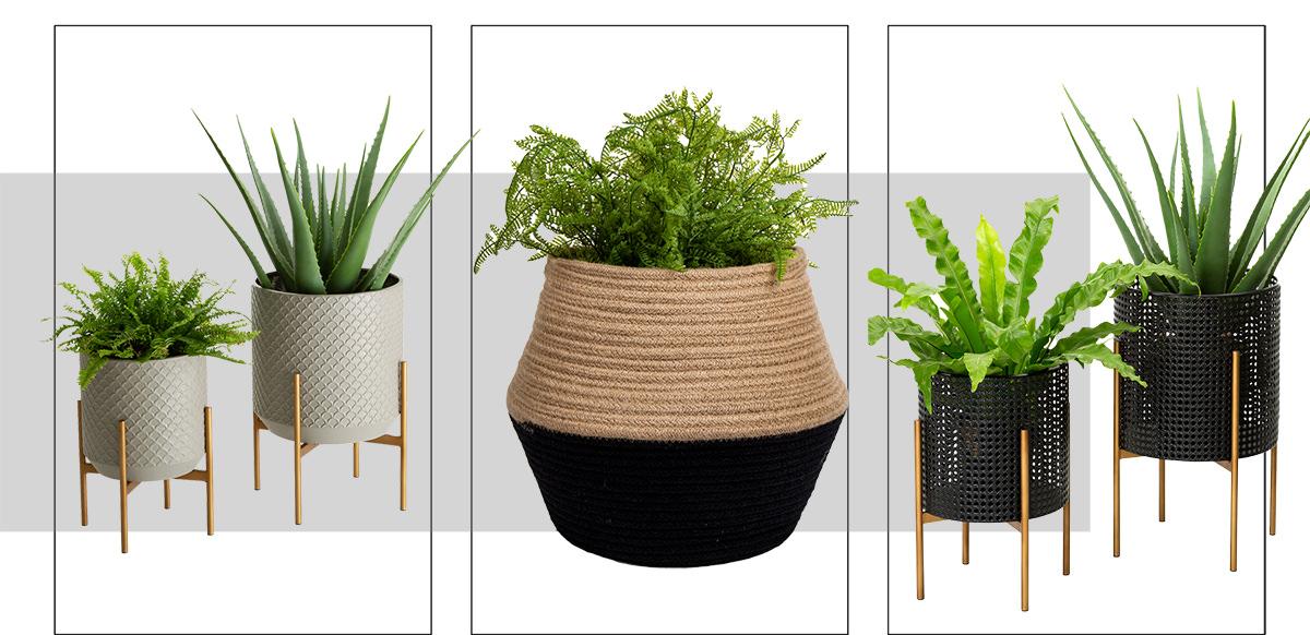 Concrete Patterned Metal Set of 2 Pot Planter Stands,Jute Neutral with Black Bottom Planter Basket,Black Faux Wicker Metal Set of 3 Pot Planter Stands | SHOP NOW