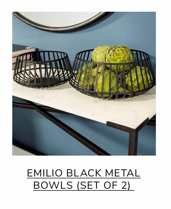 Emilio Black Metal Slated Set of 2 Bowls | SHOP NOW