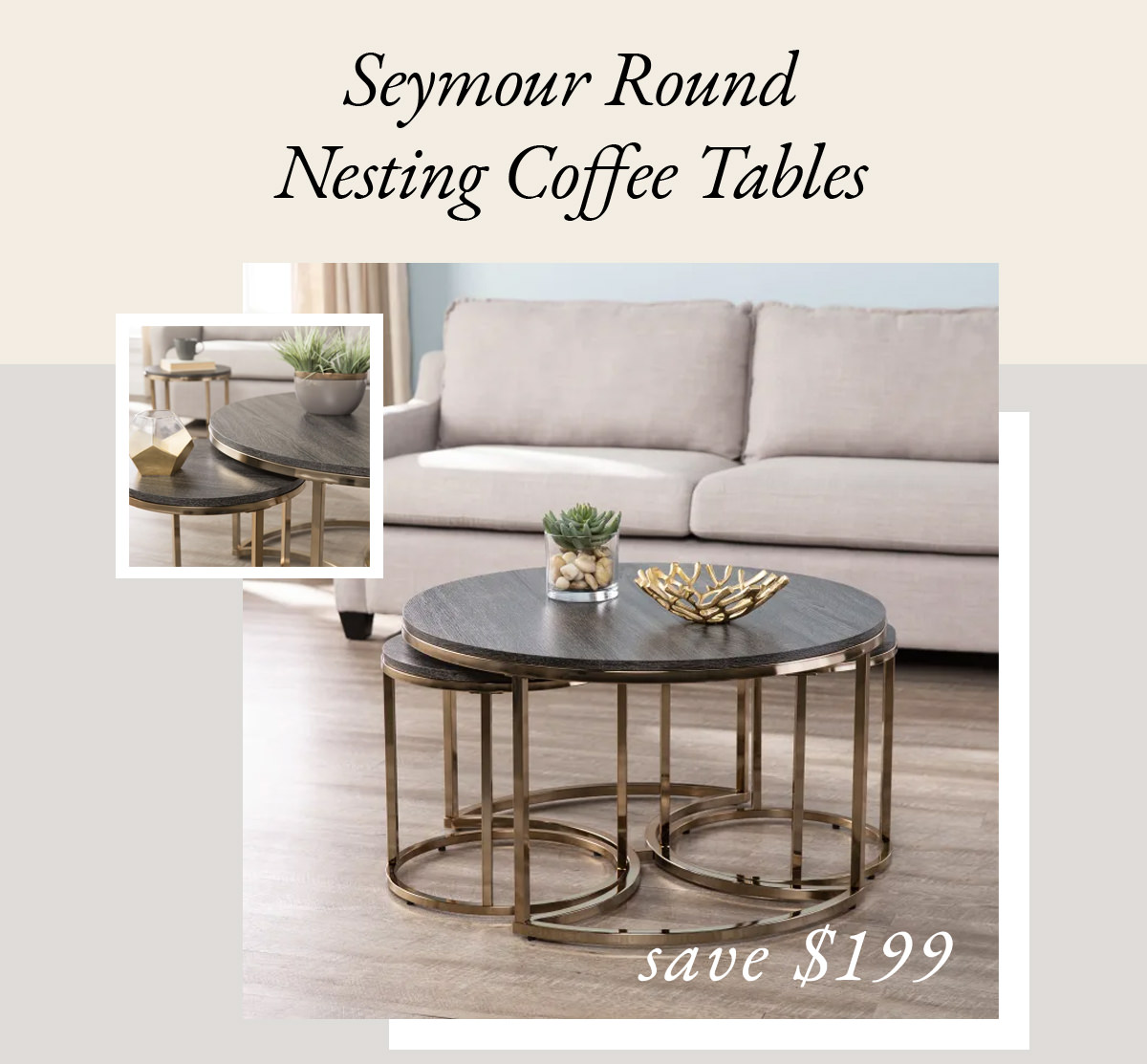 Seymour Round Nesting Set of 3 Coffee Tables | SHOP NOW