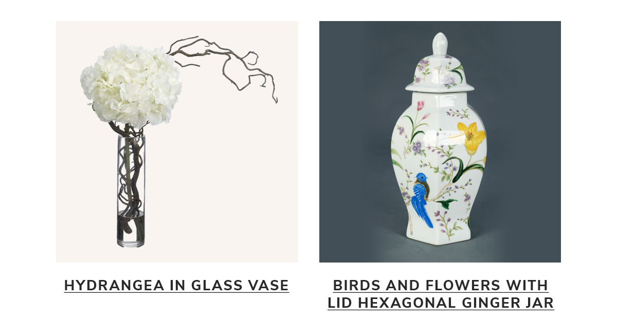 Hydrangea/ Curly Willow in Glass Vase, Birds and Flowers with Lid Hexagonal Ginger Jar   SHOP NOW