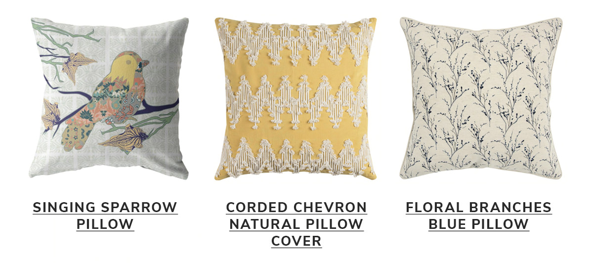 Singing Sparrow Pillow, Corded Chevron Natural Pillow Cover, Floral Branches Blue Pillow   SHOP NOW
