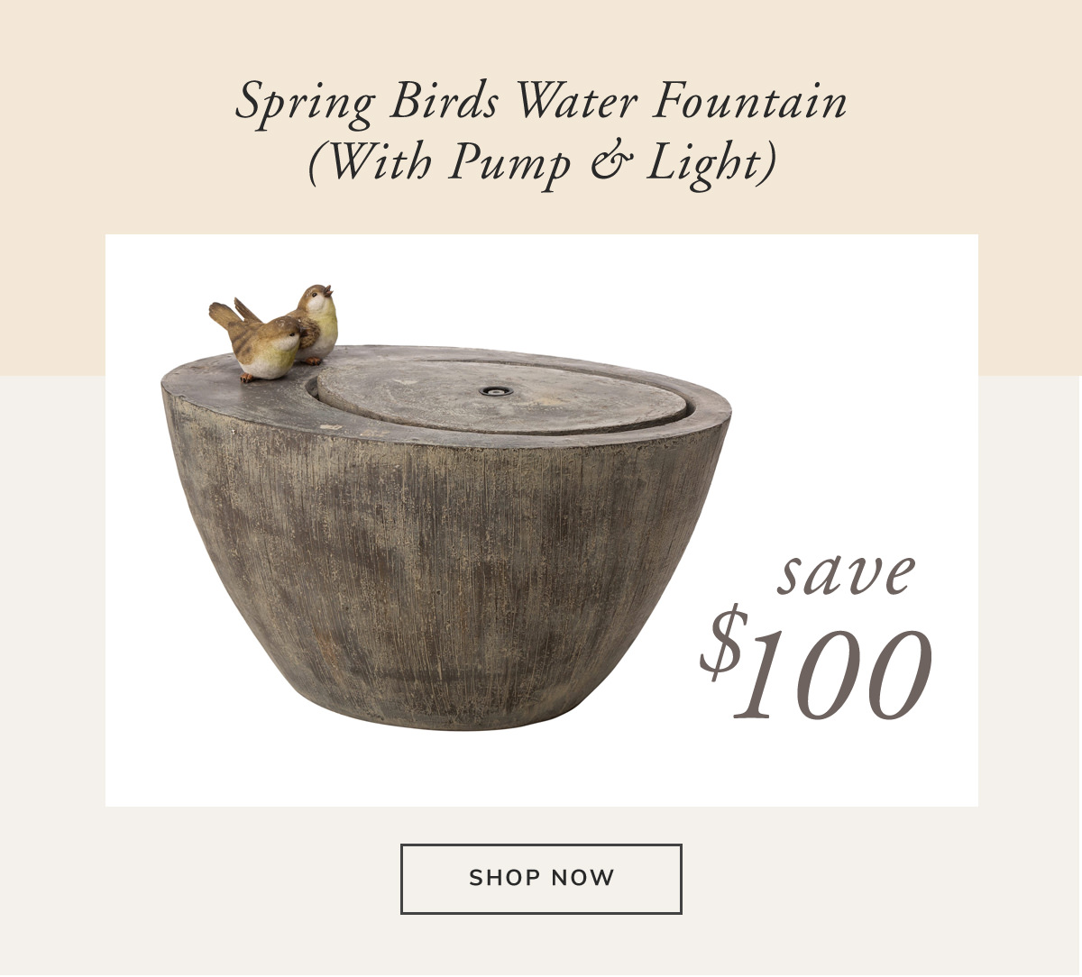 Renewal Polyresin Spring Birds Outdoor Fountain With Pump and LED Light 25L. Save $100 | SHOP NOW
