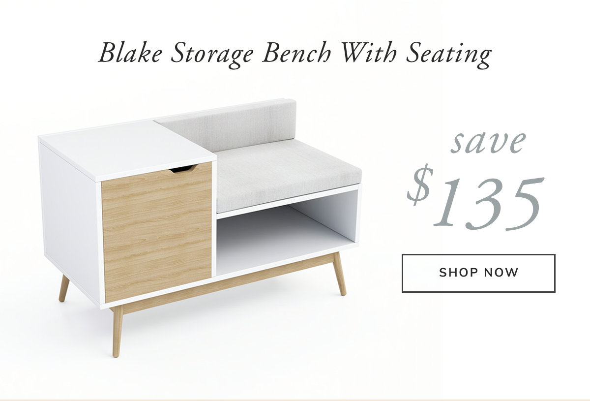 Blake Sectional White and Natural Storage Bench. Save $135 | SHOP NOW