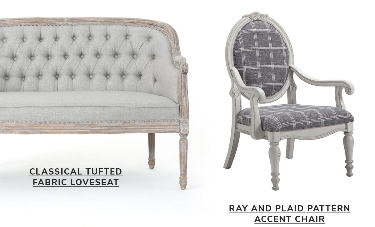 Classical Tufted Fabric Loveseat, Gray and Plaid Pattern Accent Chair   SHOP NOW