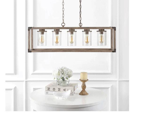 5-Light Linear Adjustable Iron/Seeded Glass Rustic Farmhouse LED Pendant | SHOP NOW