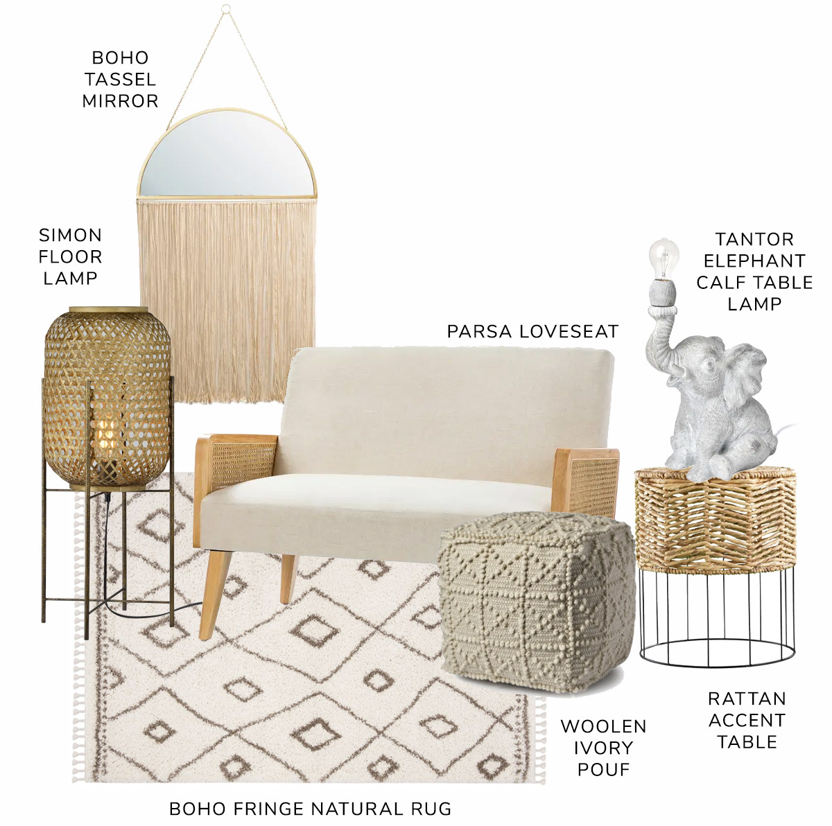 Parsa Arm Loveseat, Philadelphia Accent Table, Leroy Ivory Wool Popcorn Detail Sqaure Pouf, Boho Fringe Ivory and Natural Shag, Simon Floor Lamp, Regency Modern/Boho Metal With Tassels Hanging Semicircle Wall Mirror,Tantor Elephant Calf Table Lamp   SHOP NOW