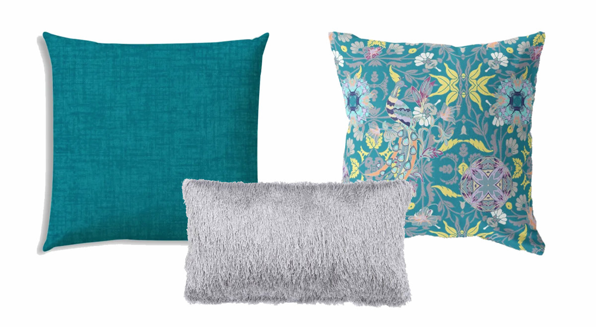 Weave Aqua Outdoor Pillow, Outdoor Shag Pillow, Everest Peacock Outdoor Pillow   SHOP NOW