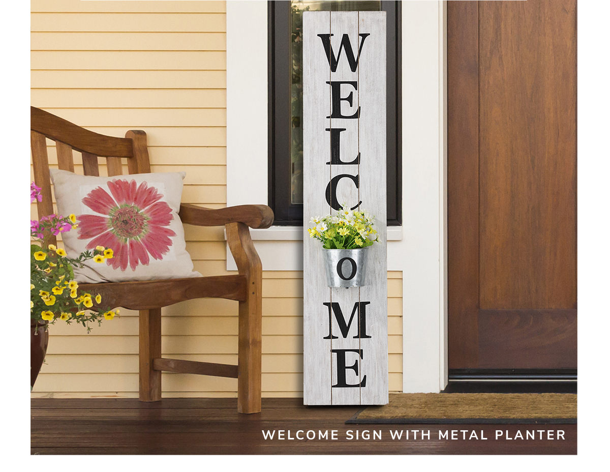 Welcome Wooden with Metal Planter White Porch Sign | SHOP NOW
