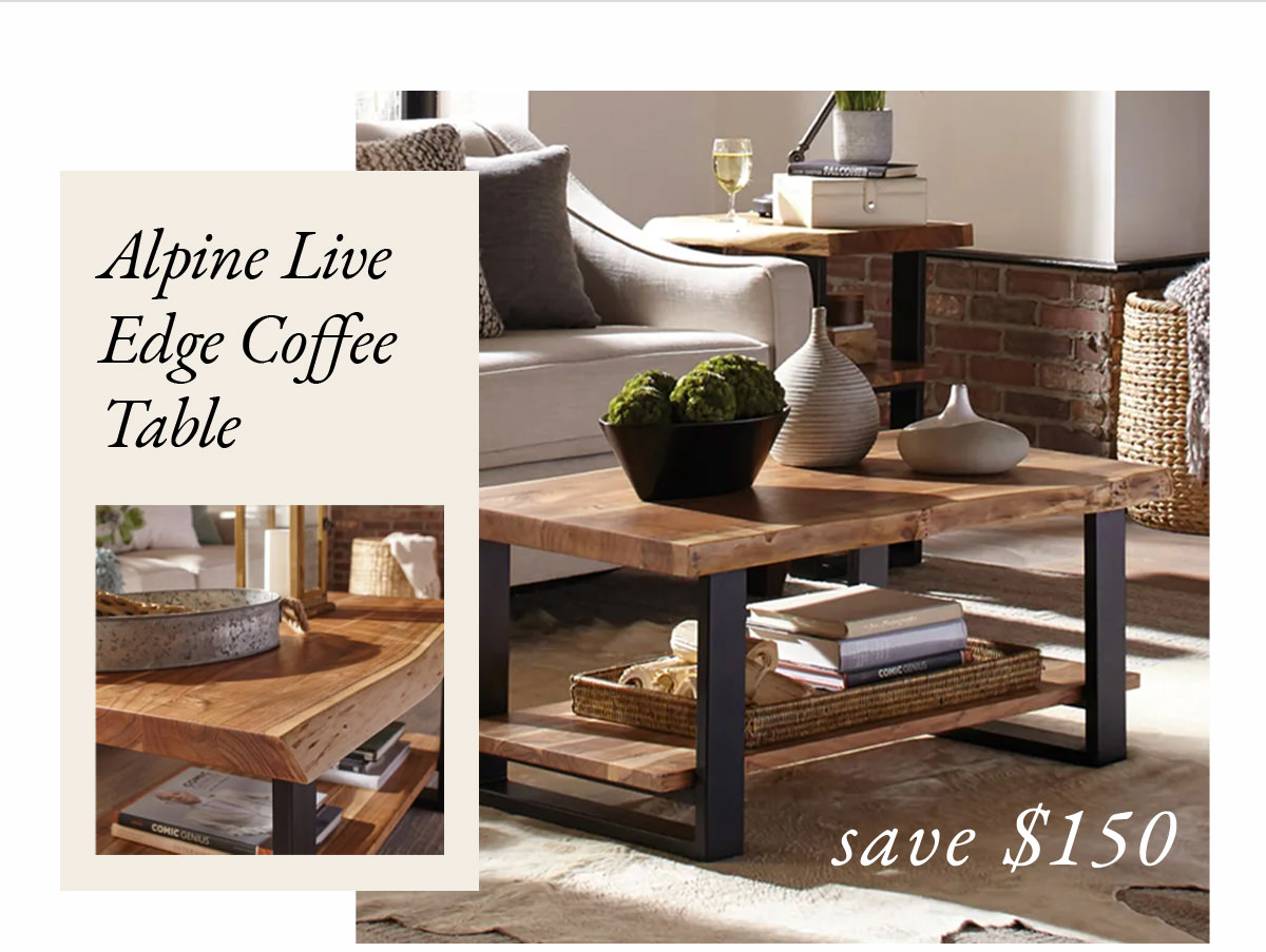 Alpine Natural Live Edge Wood Coffee Table | SHOP NOW