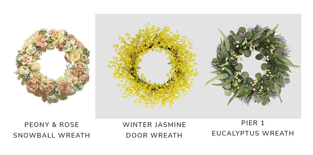 "Peony/Rose/Snowball Wreath, Puleo 30"" International Artificial Winter Jasmine Floral Spring Wreath, Pier 1 Eucalyptus Wreath 21 | SHOP NOW"