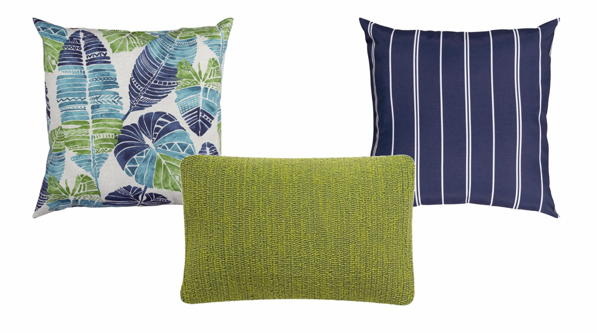 Palm Fronds Printed Outdoor Pillow, Soleil Solid Tropical Green Pillow, Navy Stripe Outdoor Pillow.   SHOP NOW