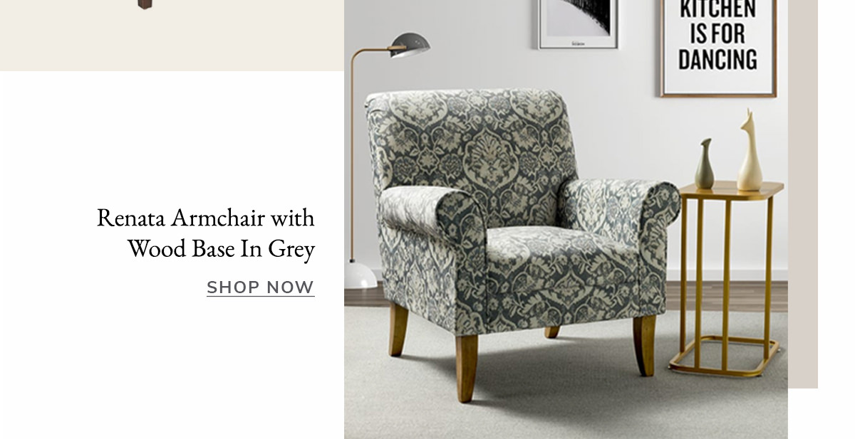 Renata Armchair with Wood Base In Grey | SHOP NOW
