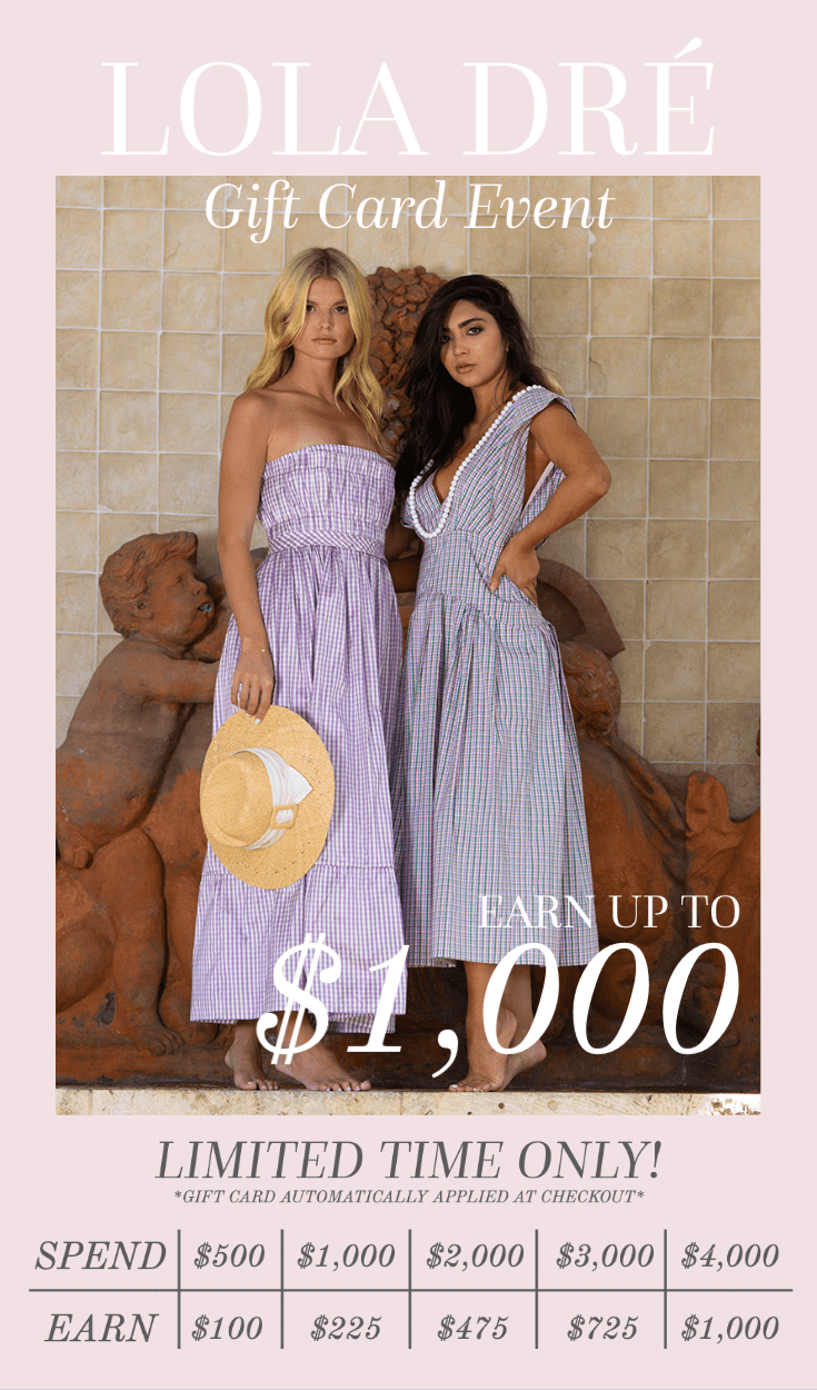 Image of Lola Dré models with text: Lola Dré gift card event earn up to $1,000 limited time only