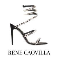Image of Rene Caovilla Aika Crystal and Pearl Black Satin High Heel Sandal