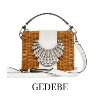 Image of Gedebe Wicker Purse Off-White Leather Top Handle Bag
