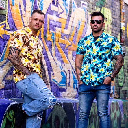 Beach Tan and Blue Atoll shirt
