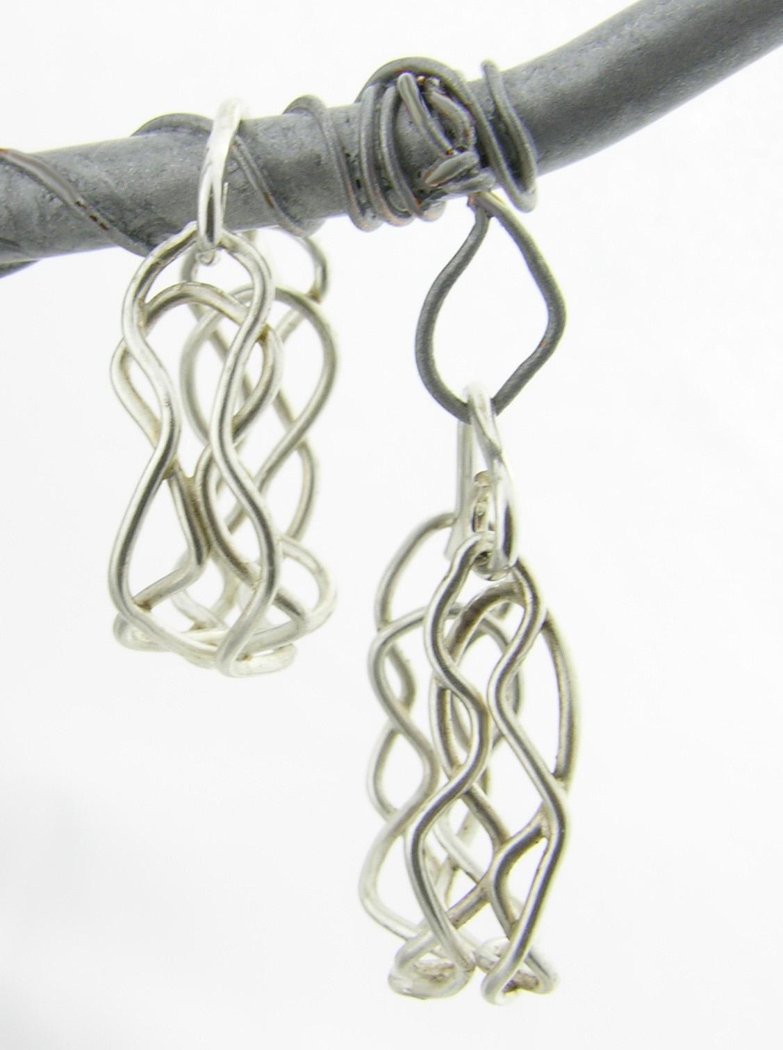 Mish Mesh Hooplets Earrings - fused sterling silver filigree handmade artisan
