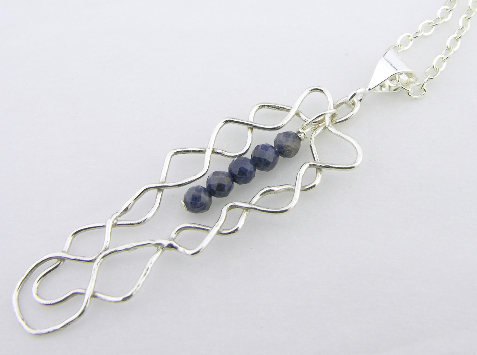 Mish Mesh Blues Necklace - fused sterling silver filigree handmade blue sapphire