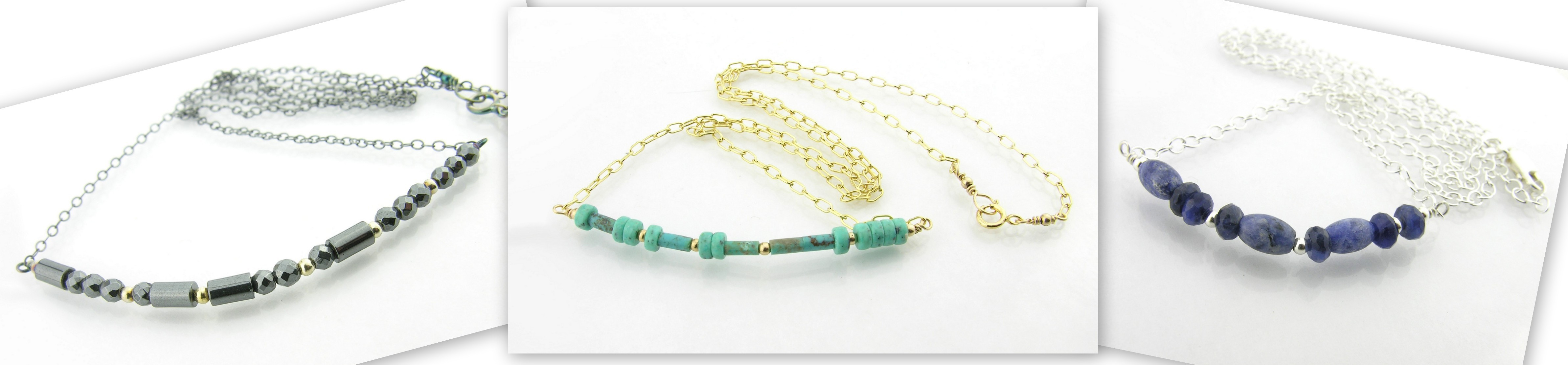 Morse code necklaces in hematite, turquoise, sodalite in both sterling silver and gold filled