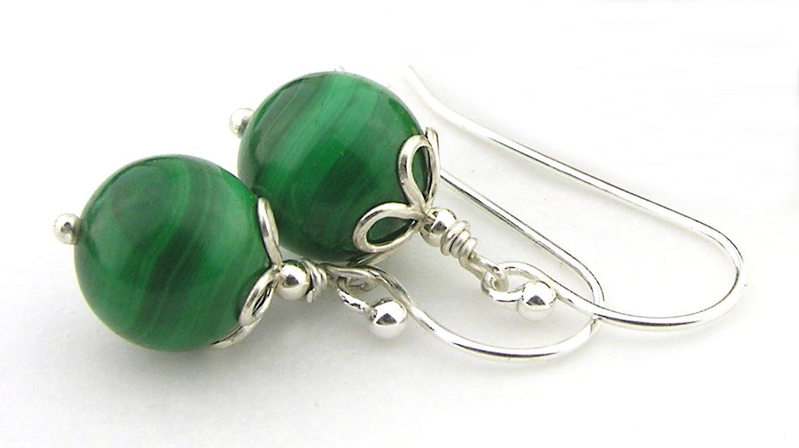 Malachite and Petals - Artisan, handmade green malachite gemstone, dainty, short earrings with sterling silver open petals caps in sterling silver, drops