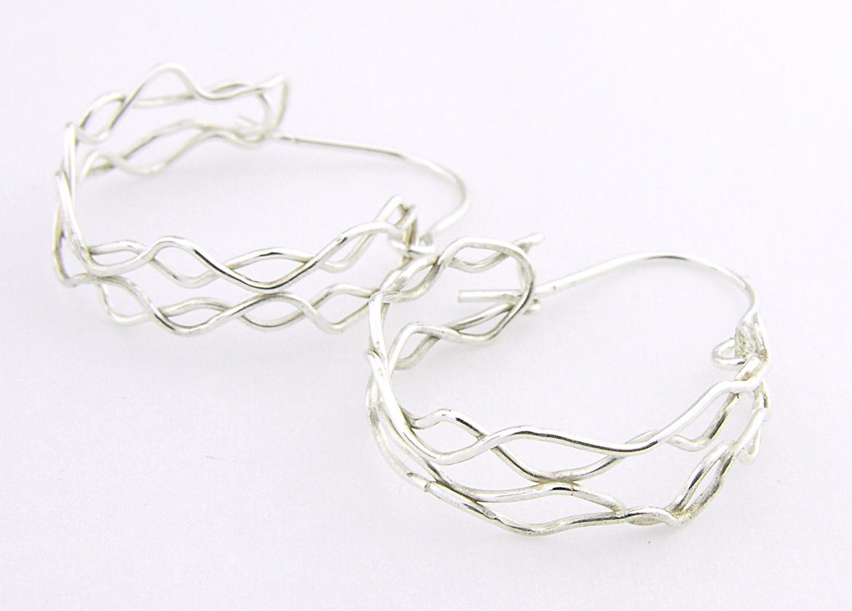 Mish Mesh Hoops Earrings - fused sterling silver filigree handmade