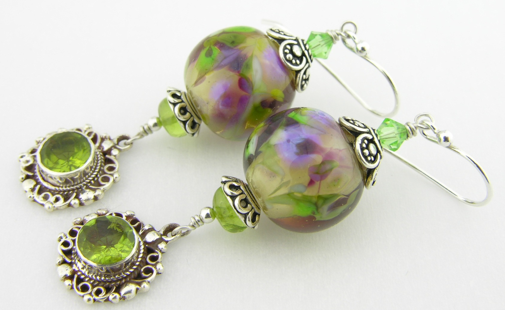 peridot and lampwork sterling silver earrings
