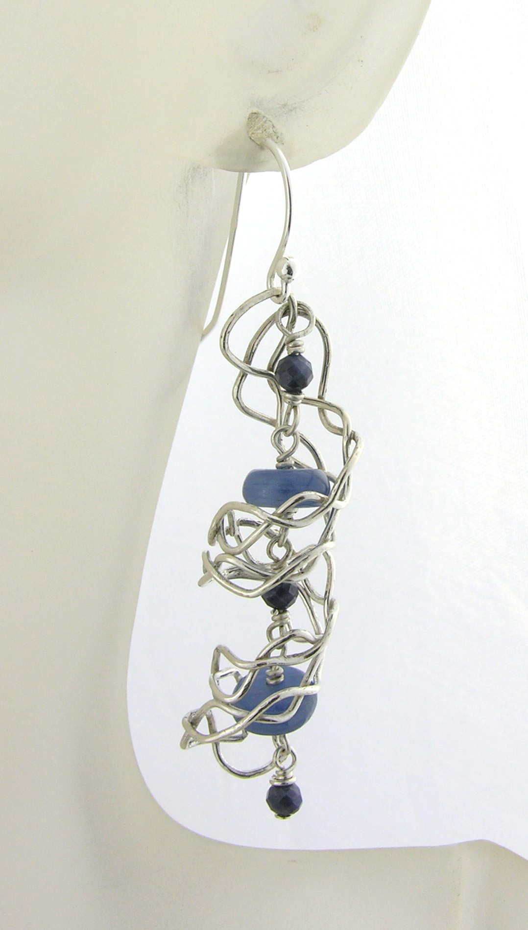 Mish Mesh Spirals and Blues Earrings - fused sterling silver filigree handmade kyanite blue sapphire