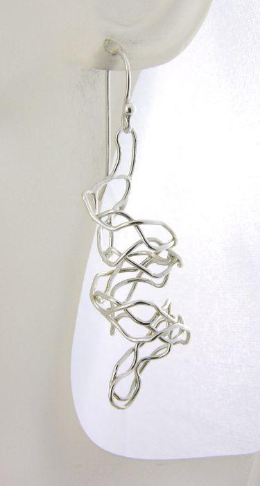 Mish Mesh Spirals Earrings - fused sterling silver filigree handmade