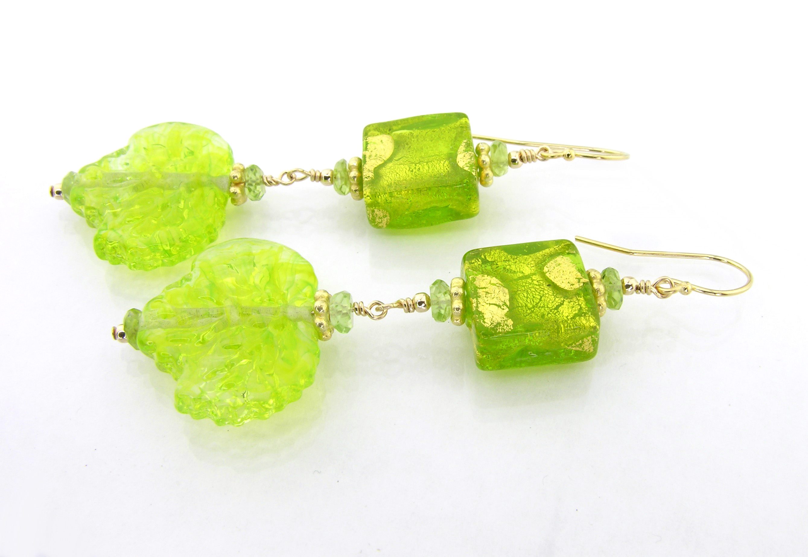 Peridot Leaves Earrings with fabulous peridot green glass leaves, peridot, venetian beads with gold leaf and gold fille