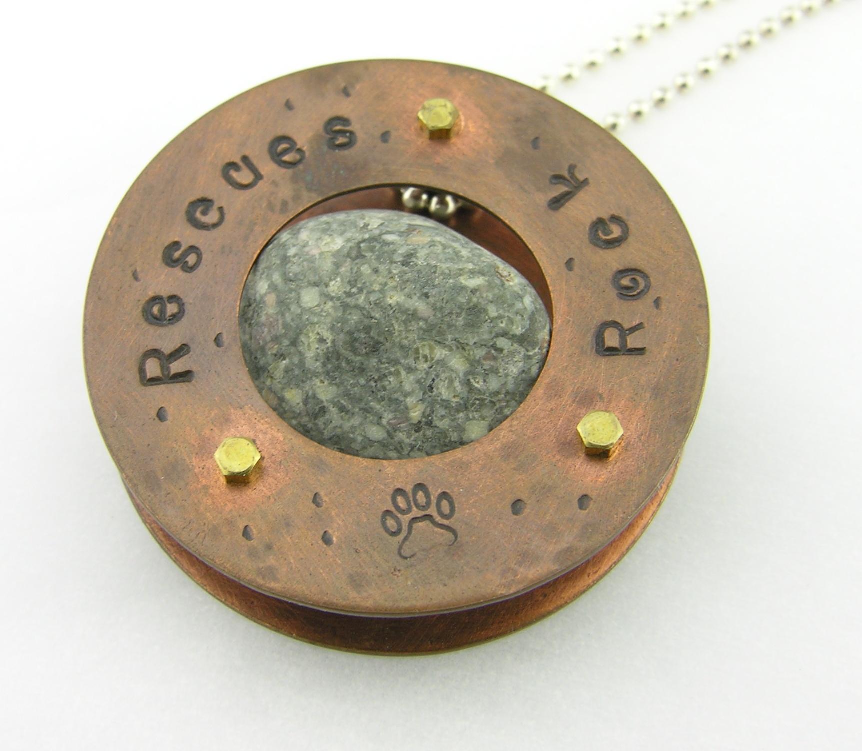 Mish Mesh Hooplets ERescues Rock Necklace - copper brass nut screw granite rivet artisan sterling silver animal dog cat paw srajd cserpentDesignsarrings - fused sterling silver filigree handmade artisan