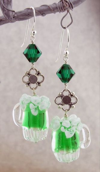 A Mug O' Green Beer Earrings - Artisan made green and silver earrings with artisan lampwork frothy green beer mugs, Swarovski crystals and sterling silver