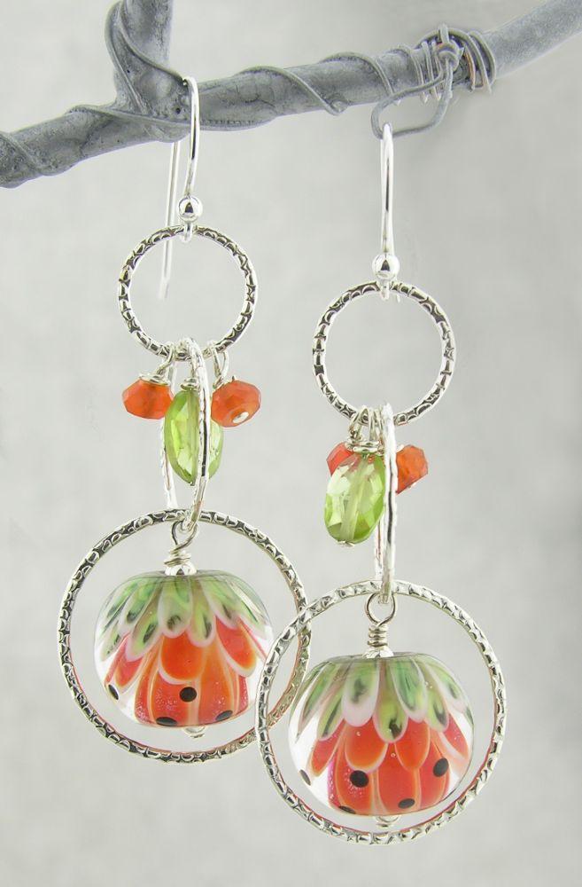 orange glow watermelon sterling silver earrings with peridot carnelian hammered sterling rings