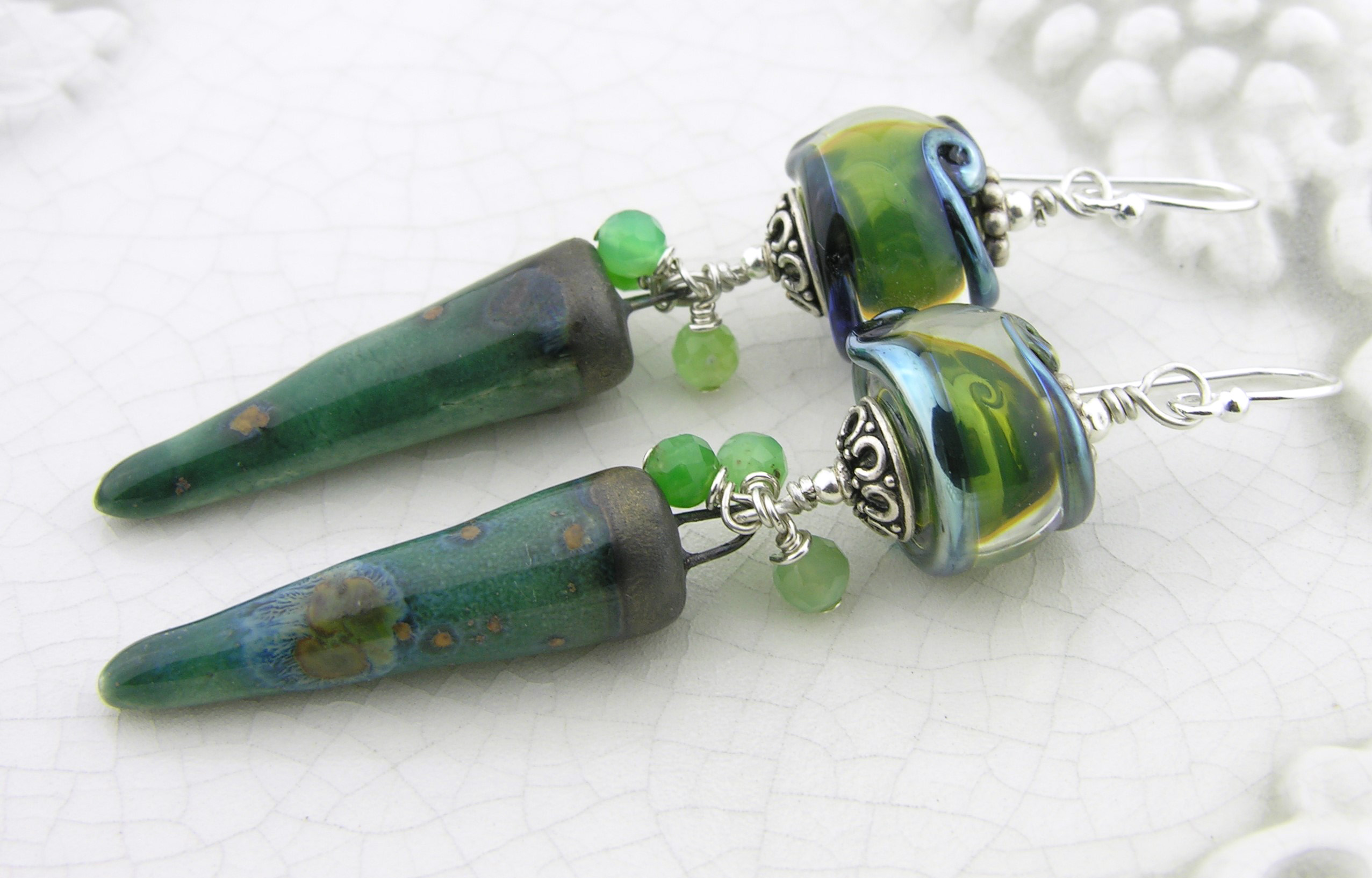 Lady of the Green Kirtle Earrings - Handmade green earrings with chrysoprase gemstones, glowing green and metallic artisan lampwork, organic green ceramic spikes and sterling silver