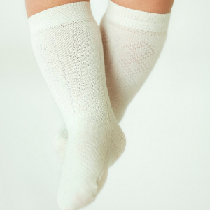 cream merino knee high socks