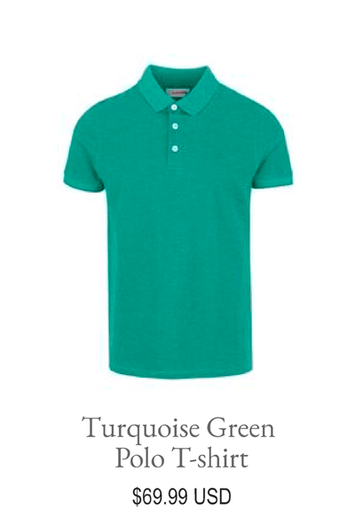 Turquoise Green Polo T shirt