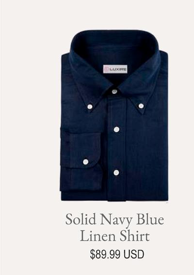 Solid Navy Blue Linen Shirt